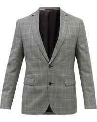 Officine Generale Officine Générale 375 チェックウール スーツジャケット - グレー