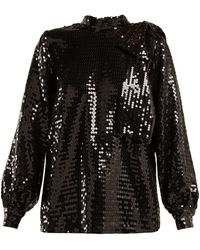 MSGM High-neck Sequin Top - Black