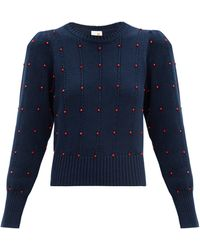 JoosTricot Bead-embellished Cotton-blend Sweater - Blue