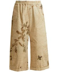 By Walid | Hazy-jungle Print Cotton-canvas Wide-leg Trousers | Lyst