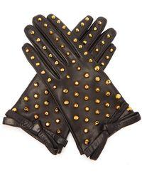 Prada Stud-embellished Leather Gloves - Black