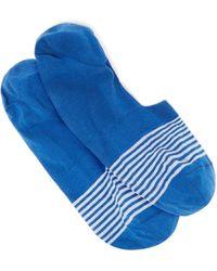 Pantherella Sienna Striped Egyptian-cotton Blend Socks - Blue