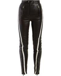 Alexander McQueen Side Stripe Leather Trousers - Black