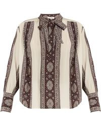 Sea | Striped-paisley Print Tie-neck Silk Blouse | Lyst