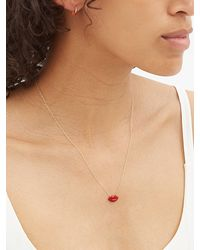 Alison Lou Collier en or 14 carats à charm lèvres - Multicolore