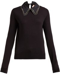 N°21 Crystal-embellished Collar Jumper - Black