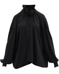 MM6 by Maison Martin Margiela Ruffled-neckline Balloon-sleeve Crepe Blouse - Black