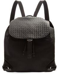 Bottega Veneta - Canvas And Intrecciato Leather Backpack - Lyst