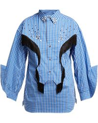 Toga Fringed Cotton-blend Western Shirt - Blue