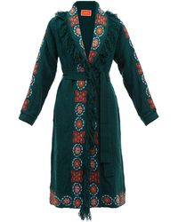 La DoubleJ Santa Fe Embroidered Cable-knit Long Cardigan - Green