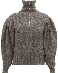 Isabel Marant Kuma Puff-sleeve Wool Jumper - Gray