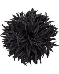 Saint Laurent Broche en soie à fleurs - Noir