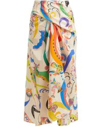 Etro - Abstract-printed Tie-front Cotton Skirt - Lyst