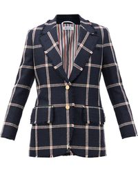 Thom Browne Single-breasted Fringed Check Wool-tweed Jacket - Blue