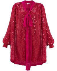 Ashish Robe à sequins et naud lavallière - Rose
