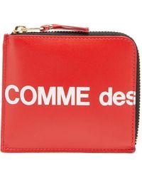 Comme des Garçons Comme Des Garçons Wallet ロゴプリント ラウンドファスナーレザーウォレット - レッド