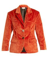 Isa Arfen - - Notch Lapel Crushed Velvet Cotton Blend Jacket - Womens - Dark Orange - Lyst