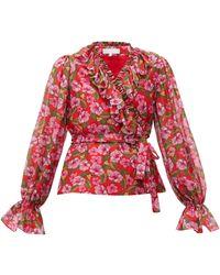 Borgo De Nor Alix Ruffled Floral-print Muslin Blouse - Red