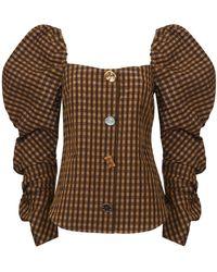 Rejina Pyo Maya Puff-sleeve Seersucker Blouse - Brown
