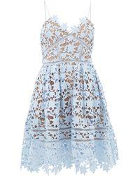 Self-Portrait Azalea Floral Guipure-lace Dress - Blue