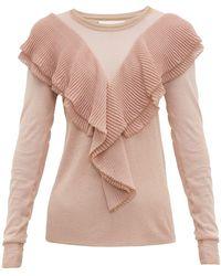 Peter Pilotto Ruffled Scalloped-edge Lurex Sweater - Pink