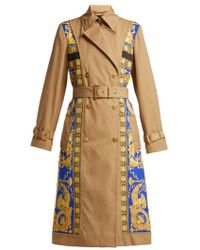 Versace - Lovers Baroque-print Double-breasted Trench Coat - Lyst
