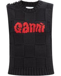 Ganni コットンブレンド ノースリーブセーター - ブラック