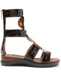 Chloé Crocodile Effect Leather Gladiator Sandals