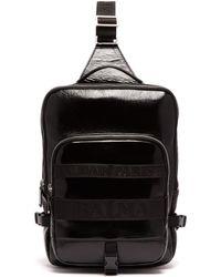 Balmain Sac à dos bandoulière en cuir asymétrique - Noir