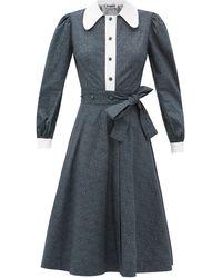 BATSHEVA フローラルコットンシャツドレス - マルチカラー