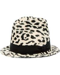 c66c36ffb Stella McCartney Leopard Print Faux Fur Felt Fedora Hat - Lyst