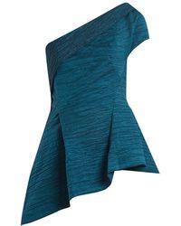 Roland Mouret - Brierley Asymmetric Draped Cotton Blend Top - Lyst