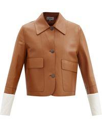 Loewe レザー シングルジャケット - マルチカラー