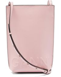 Ganni エンボスロゴ リサイクルレザー クロスボディバッグ - ピンク