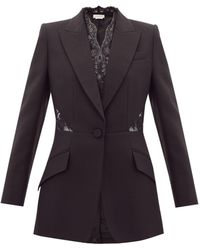 Alexander McQueen Lace-inset Single-breasted Wool-blend Crepe Jacket - Black