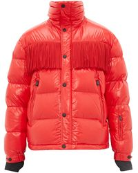 3 MONCLER GRENOBLE Fringed Quilted Down Jacket - Red