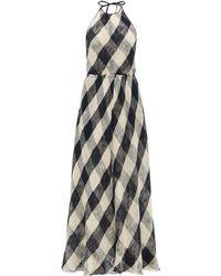 Raey Halterneck Open-weave Checked Cotton Dress - Blue