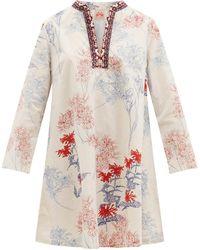 Le Sirenuse Robe courte en coton à imprimé Charlotte - Multicolore