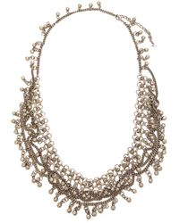 Saint Laurent - Bead Embellished Chain Necklace - Lyst