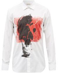 Alexander McQueen スカル オーガニックコットンポプリンシャツ - ホワイト