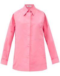 Valentino オーバーサイズ シルクカバン シャツジャケット - ピンク