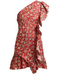 Étoile Isabel Marant Teller Floral Print Ruffled Linen Dress - Red