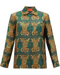 La DoubleJ Boy Tiger-print Silk-twill Shirt - Green