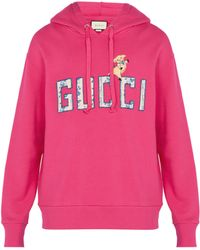 Gucci - Logo Embroidered Hooded Sweatshirt - Lyst