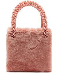 Shrimps - Una Faux Pearl Embellished Faux Fur Bag - Lyst