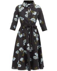 Erdem マーゴ フローラルシャツドレス - ブラック