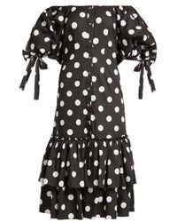 Caroline Constas - Nella Off-the-shoulder Polka-dot Dress - Lyst