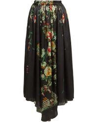 By Walid Margot Floral Print Silk Midi Skirt
