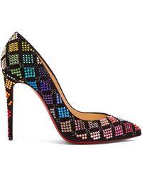 Christian Louboutin Arletta Crystal-embellished Velvet Court Shoes - Black