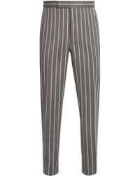 Thom Browne Backstrap Straight-leg Pinstriped Trousers - Grey